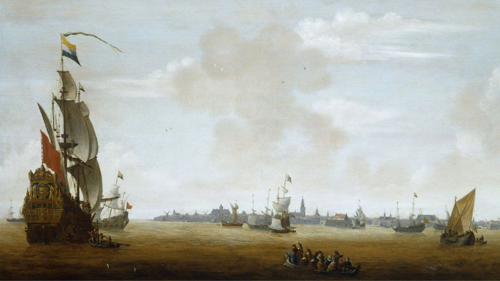 View of Amsterdam from sea painting