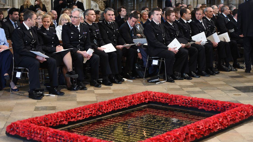 First responders at the service