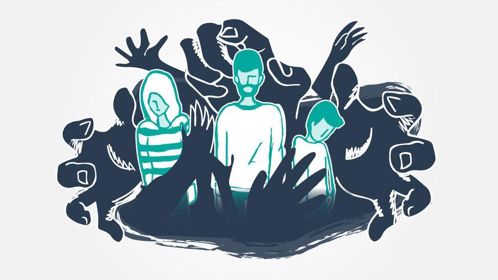 Ilustración de una familia atrapada.