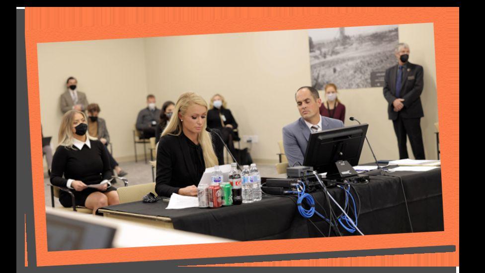 Image shows Paris Hilton testifying in Utah legislature