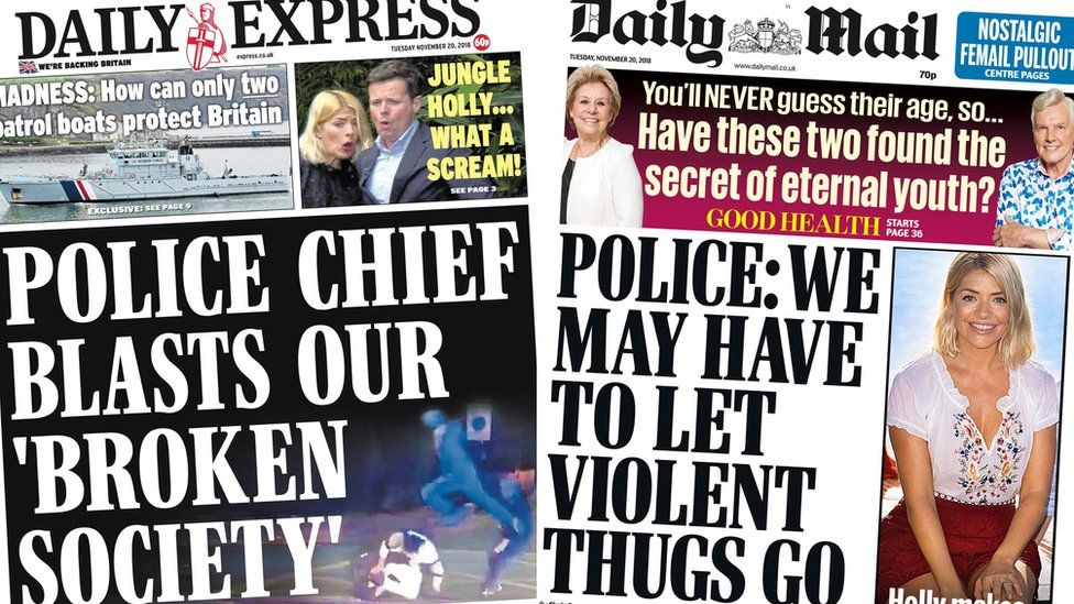 Composite image showing Daily Express and Daily Mail front pages