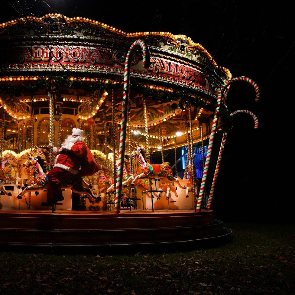 Father Christmas on a merry-go-round