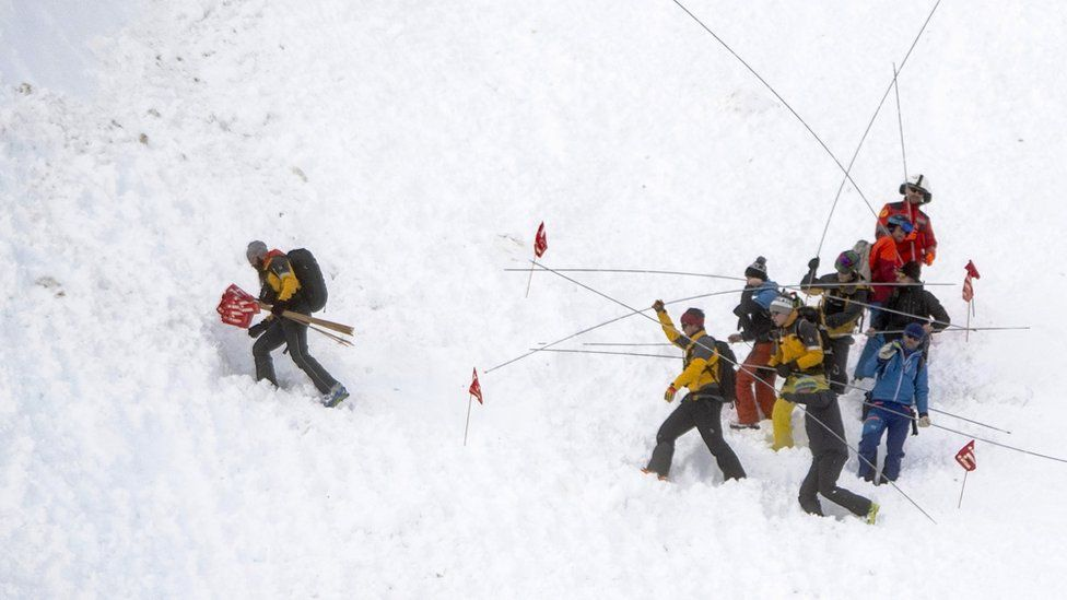 Rescue forces and helicopters search for missing persons after an avalanche swept down a ski piste in the central town of Andermatt in canton Uri, Switzerland