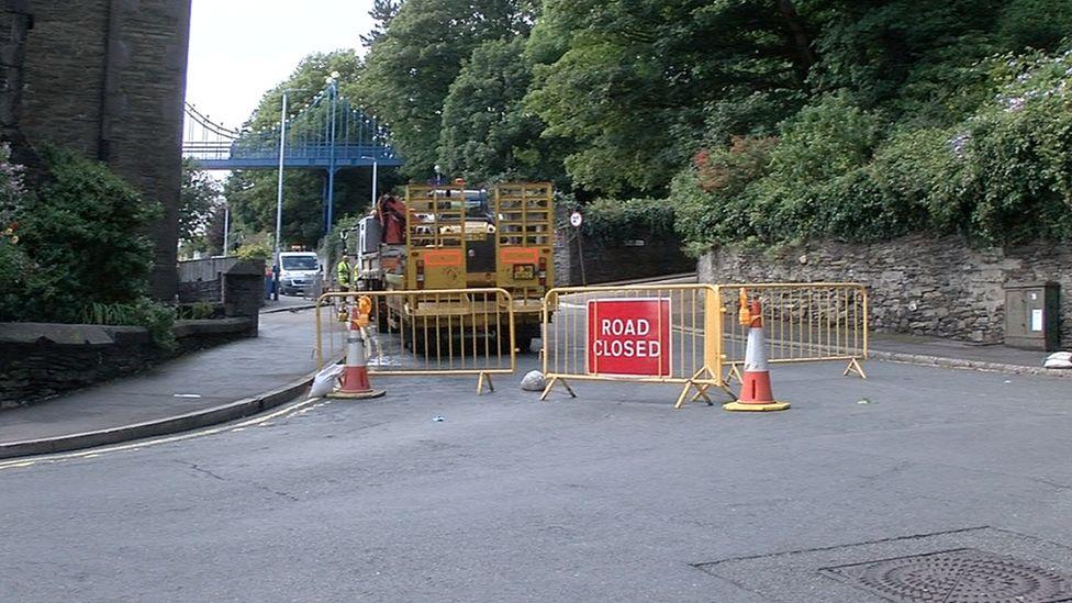 Road closure, Isle of Man