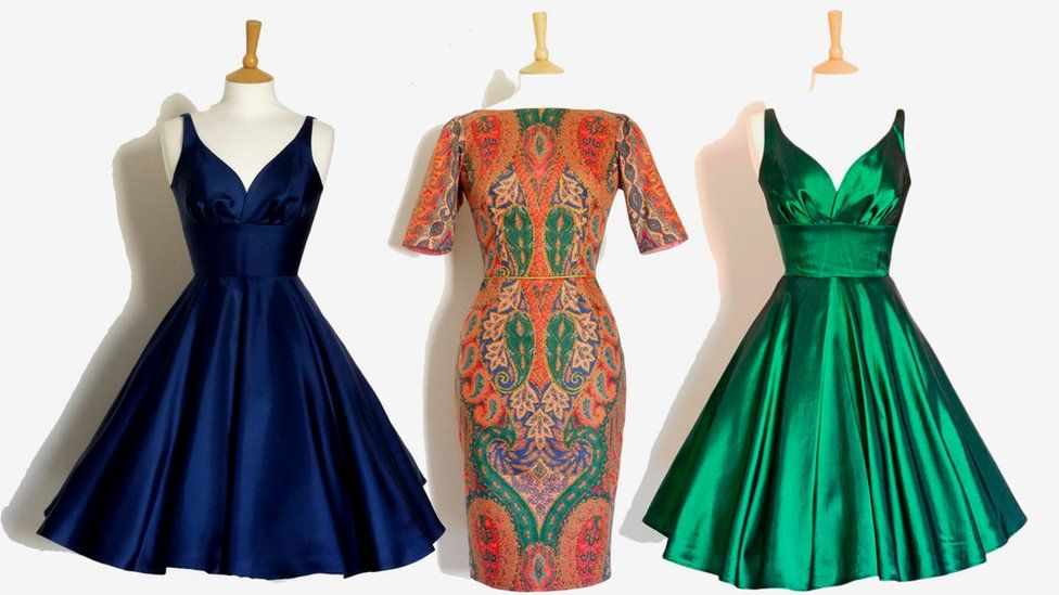 navy, paisley and emerald frocks
