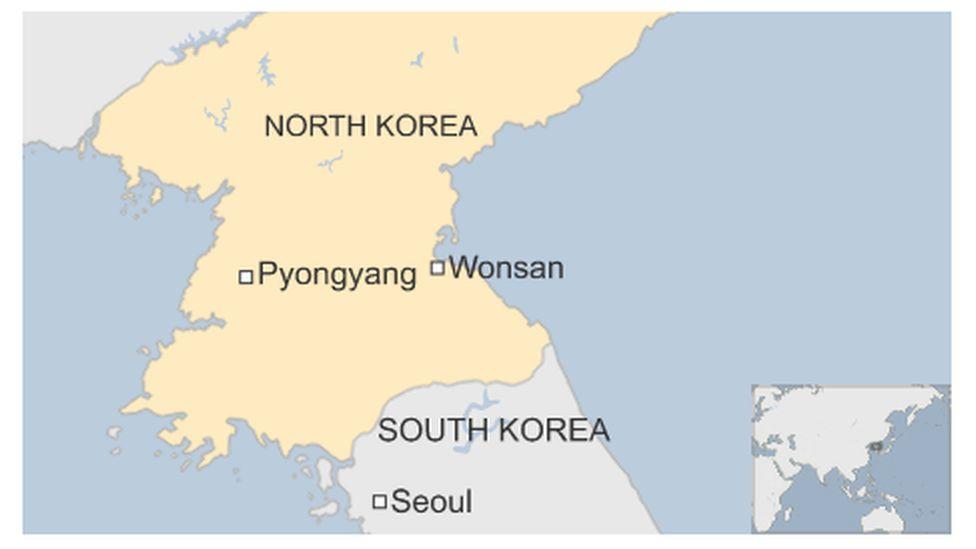 Map of Wonsan in North Korea