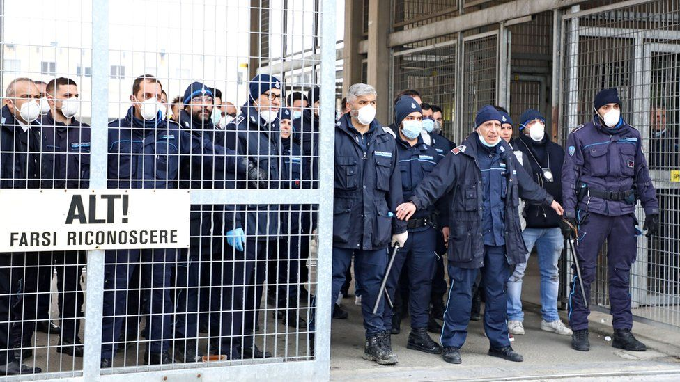 At least six people were killed at a prison in Italy's Modena as inmates' relatives protest outside over coronavirus measures, 9 March 2020