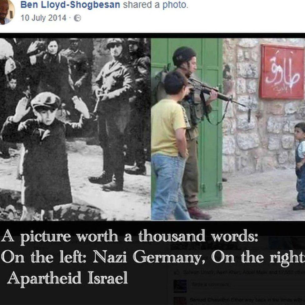 'Apartheid Israel' Facebook post