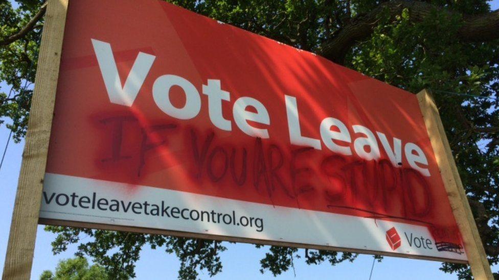 Defaced Vote Leave sign outside Witney