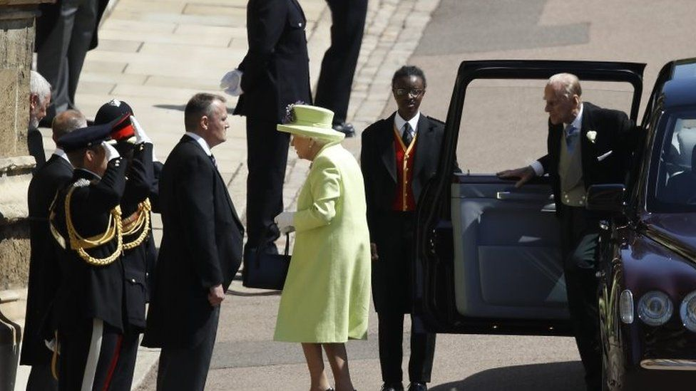 The Queen and the Duke of Edinburgh, who is recovering from a hip operation, were among the last to arrive