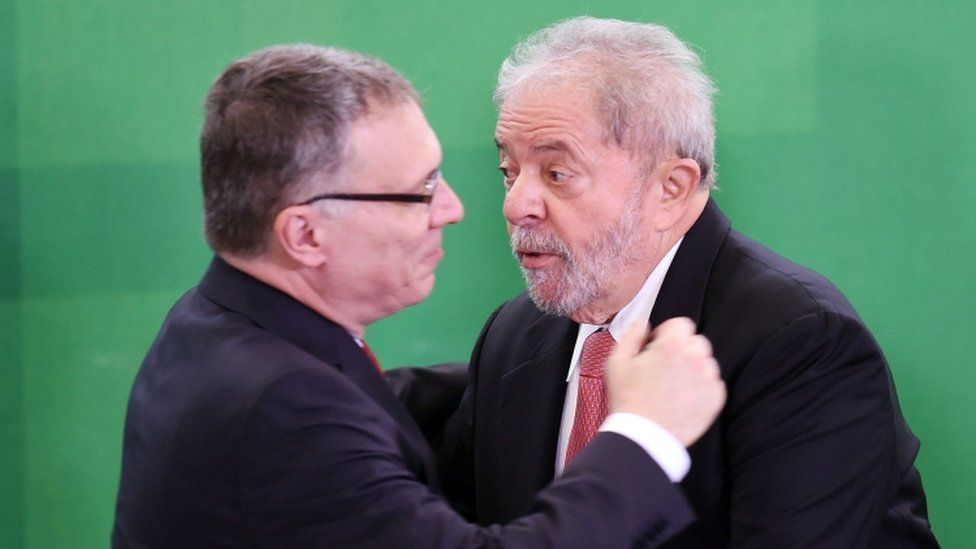 Justice Minister Eugenio Aragao and former President Lula - 17 March