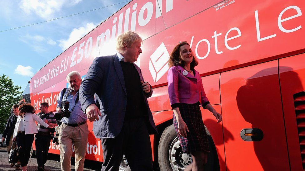 Boris Johnson in front of the Vote Leave bus during the EU referendum campaign