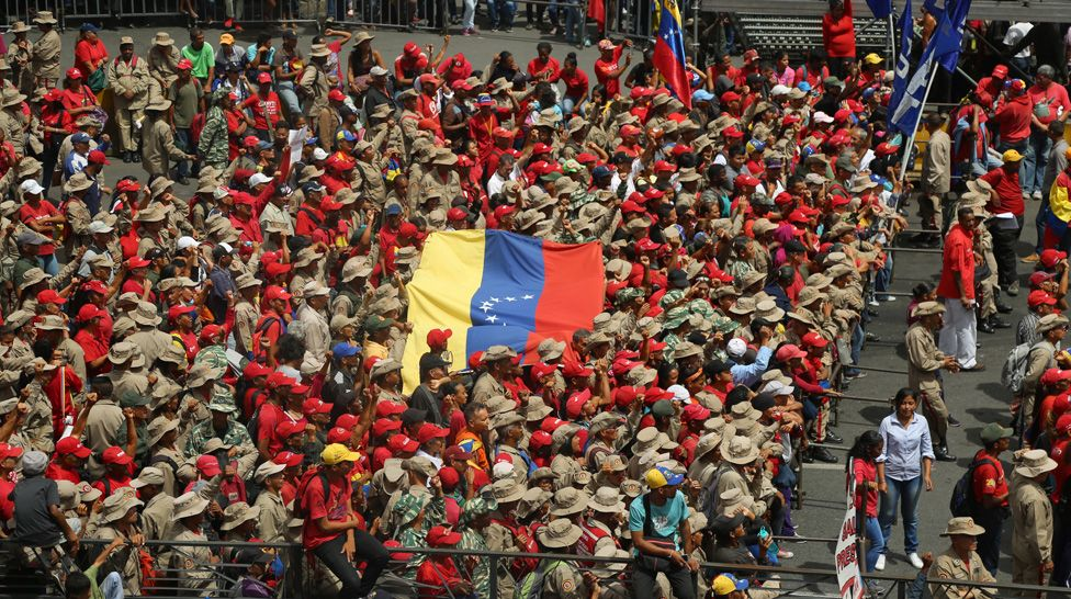 Government supporters attend a concert at which President Maduro is due to appear