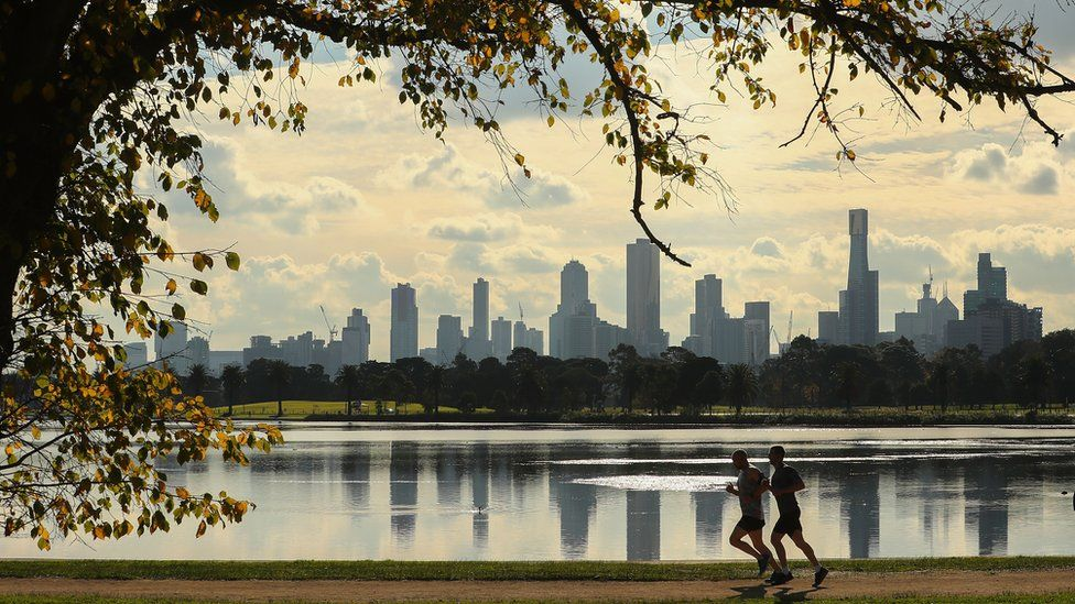 View of Melbourne skyline from Albert Park lake