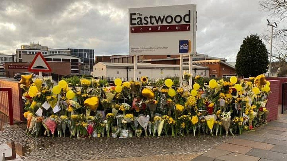 Flowers for Lily Wythe outside The Eastwood Academy in Essex