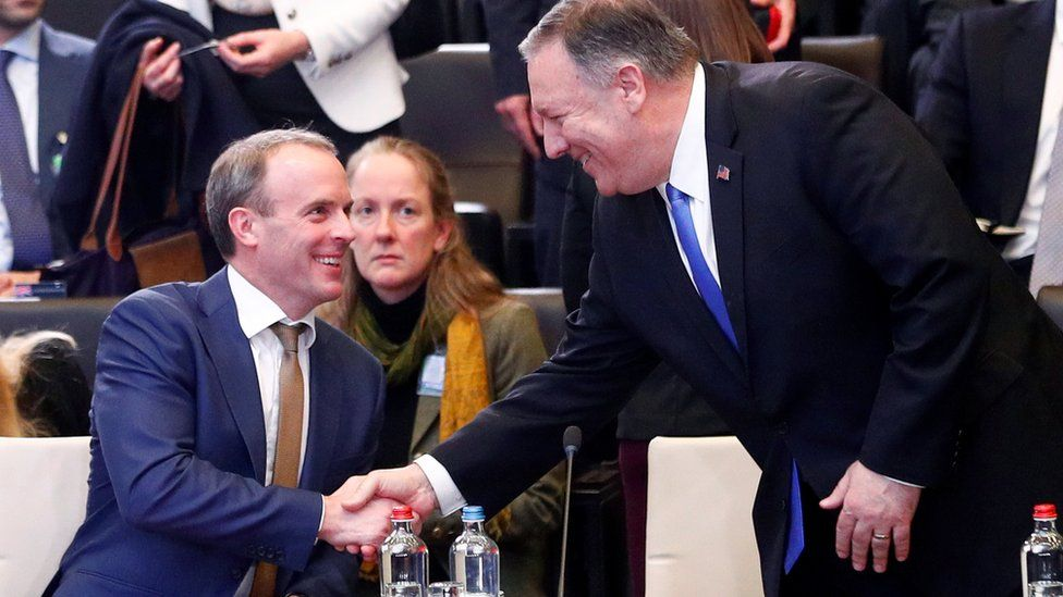 Dominic Raab and US foreign secretary of state Mike Pompeo