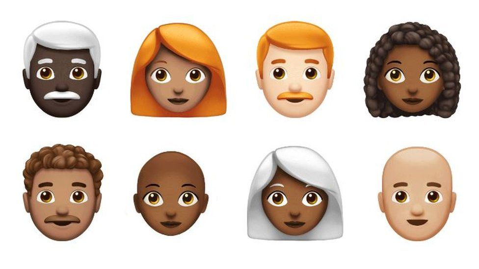 Eight of the soon-to-be-released emojis including white-haired, curly-haired, ginger-haired and bald characters of different races