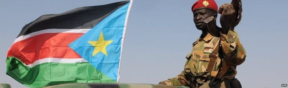 South Sudanese soldier on patrol in Bentiu - January 2014