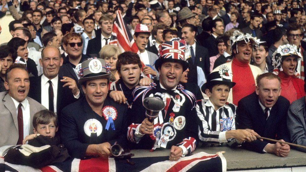 England fans watch the team's victory over West Germany in the 1966 World Cup at Wembley