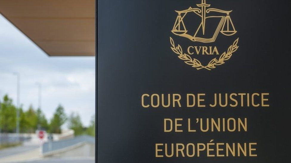 European Court of Justice sign at entrance to building in Luxembourg