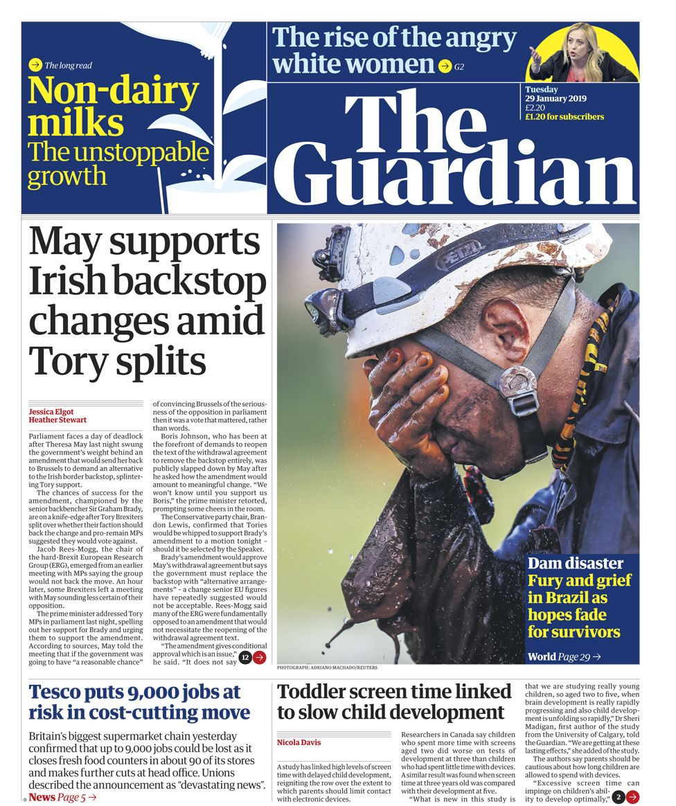 Guardian front page - 29/01/19