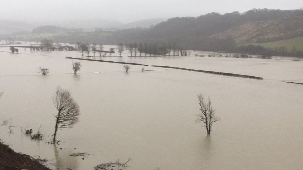 Flooding in the Dyfi valley