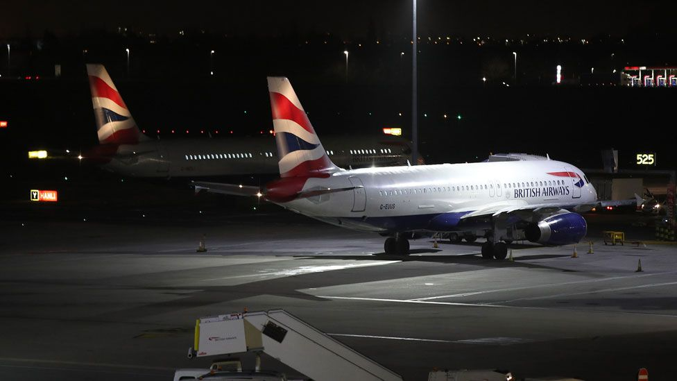 British Airways aeroplanes were among those to be grounded at Heathrow on Tuesday night.