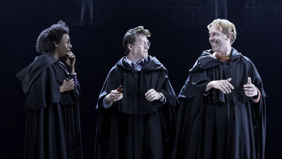 L-R Noma Dumezweni (Hermione Granger), Jamie Parker (Harry) and Paul Thornley (Ron Weasley)