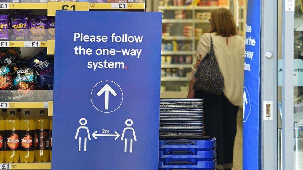 Tesco shop with social distancing measures