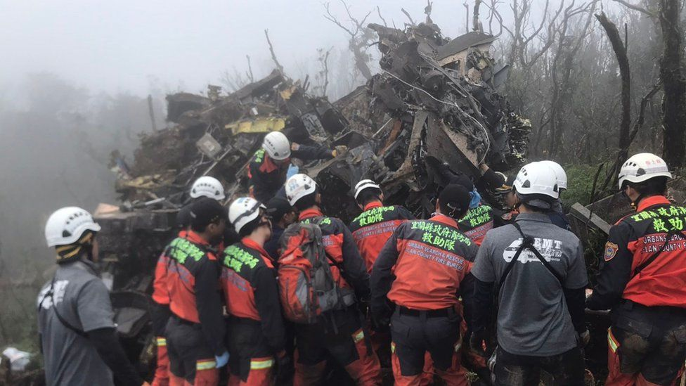 Rescuers at the scene of the emergency landing