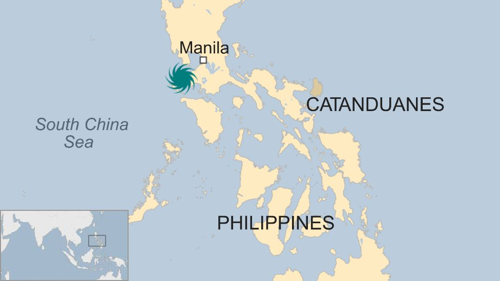 Map of the Philippines and location of typhoon Nock-Ten