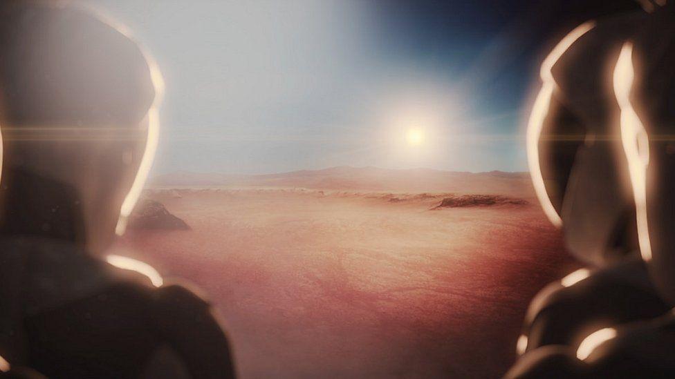 Artist's impression of humans on Mars