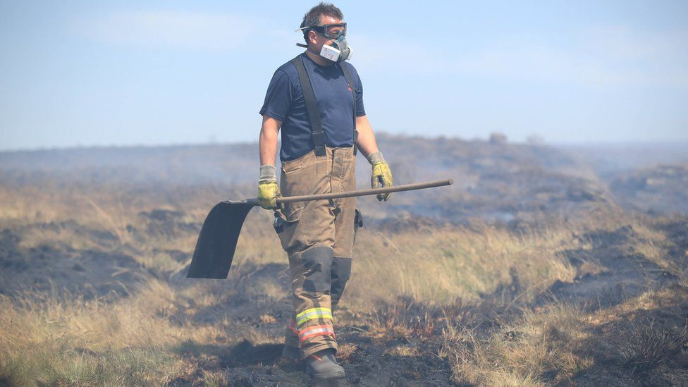 Firefighter on Winter Hill