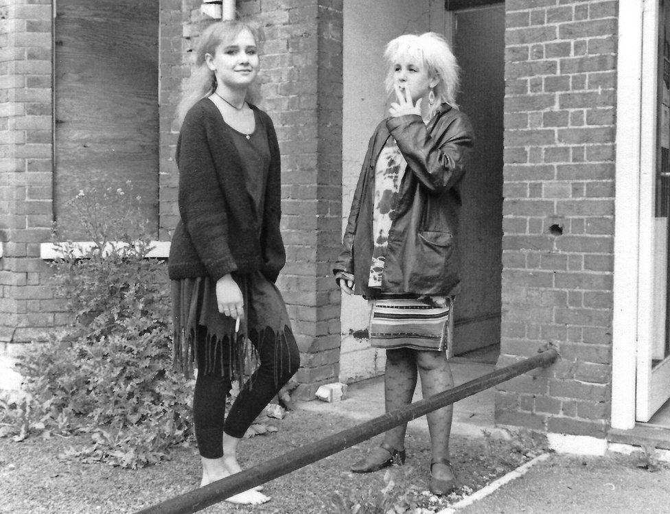 Nicki Twohig and Heidi Smith, 1988, Outside the so-called secret squat, Marlborough Road