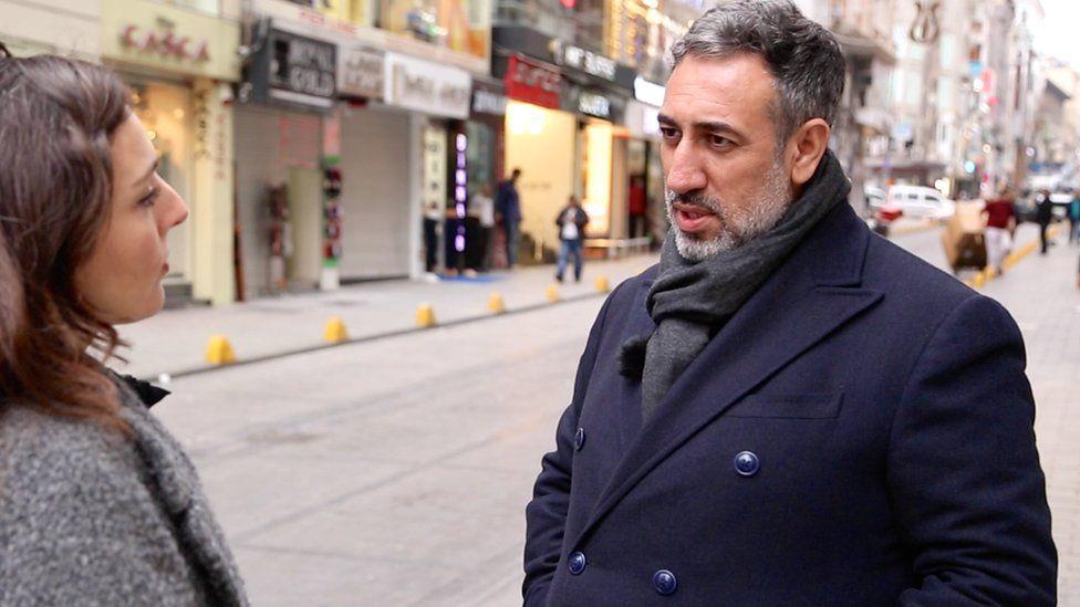 Giyasettin Eyyupkoca being interviewed by Selin Girit
