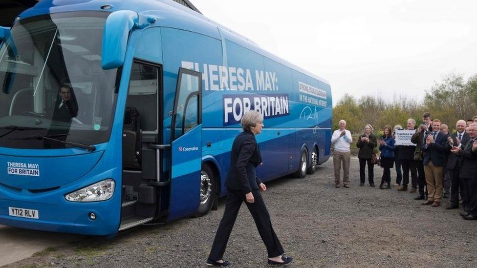 Theresa May and her battle bus