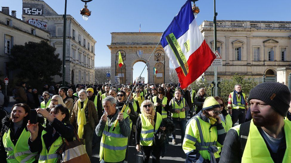 Protestors attend a nationwide general strike in Montpellier, France, 05 February 2019.