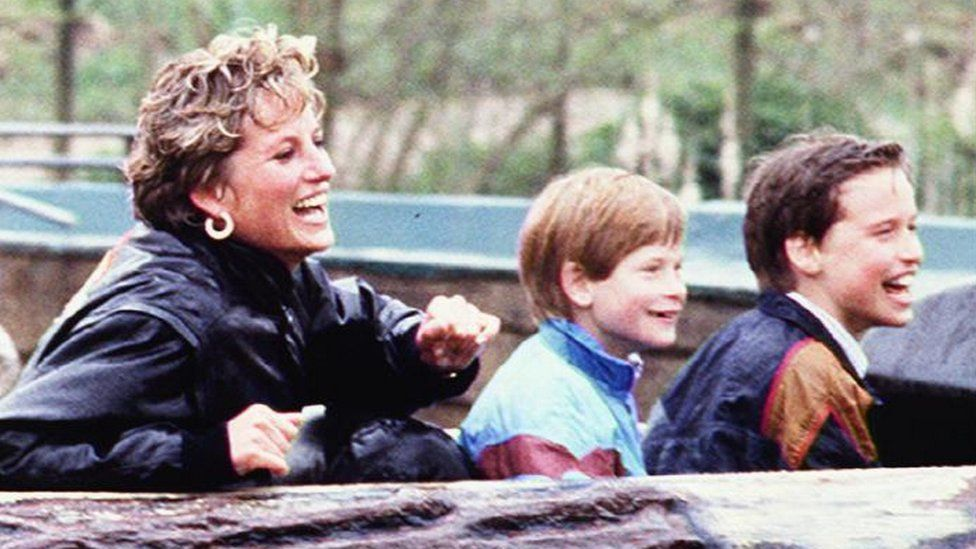 Diana, Princess of Wales with her sons in 1993 at Thorpe Park in Surrey