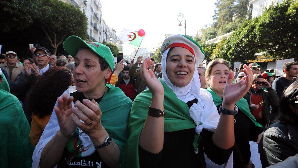 Demonstrators in Algeria protesting against the election - December 2019