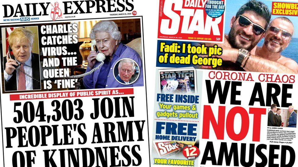 Front pages of the Daily Express and the Daily Star