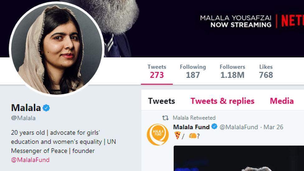 Malala's Twitter account