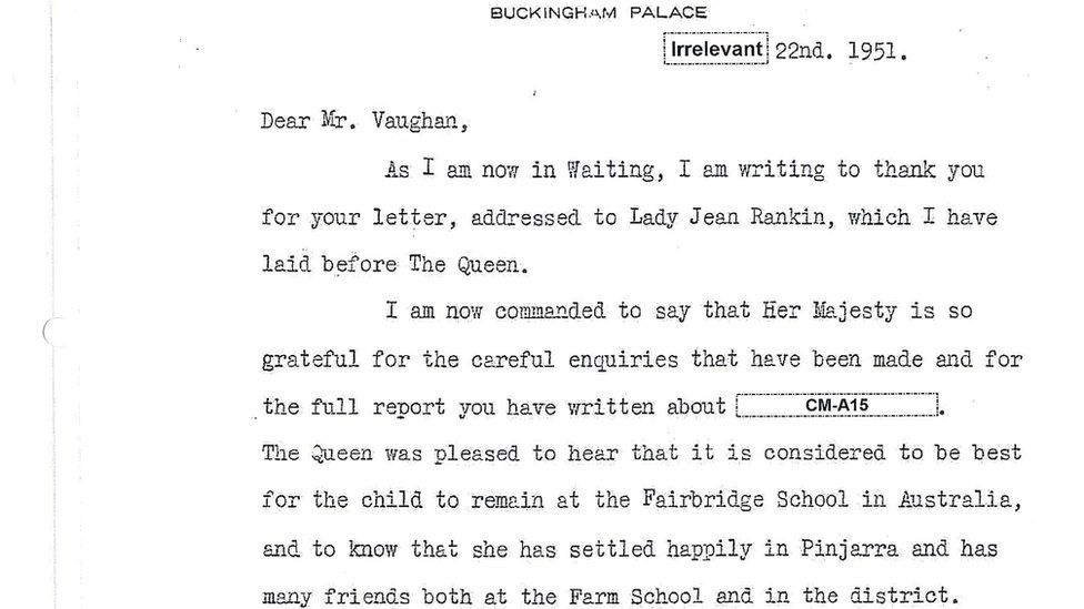 Letter from the Queen's Lady in Waiting responding to Fairbridge