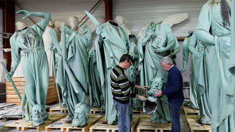 Statues of Notre Dame in a workshop, April 2019