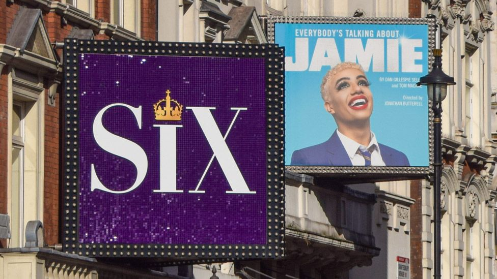 Signs for the shows Six and Everybody's Talking About Jamie