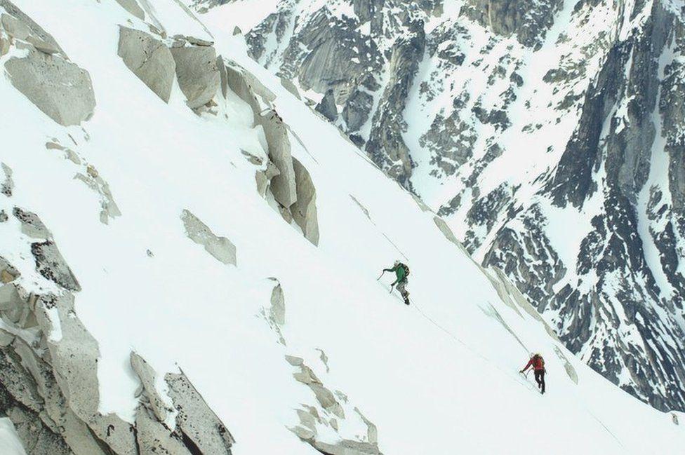 Matt and Jon climbing the mountain