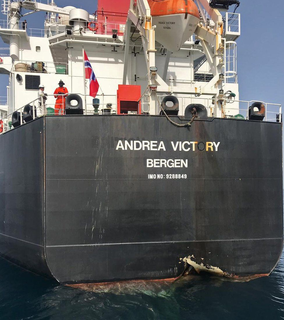 A picture taken of Norwegian oil tanker Andrea Victory with damage to its side