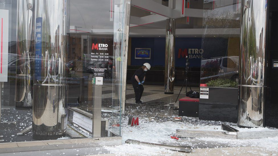 Aftermath of dumper truck in Metro Bank, Milton Keynes