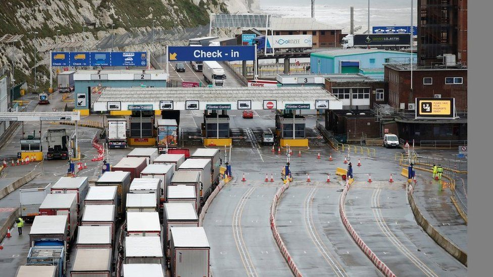Lorries queuing at Dover port on 27 December
