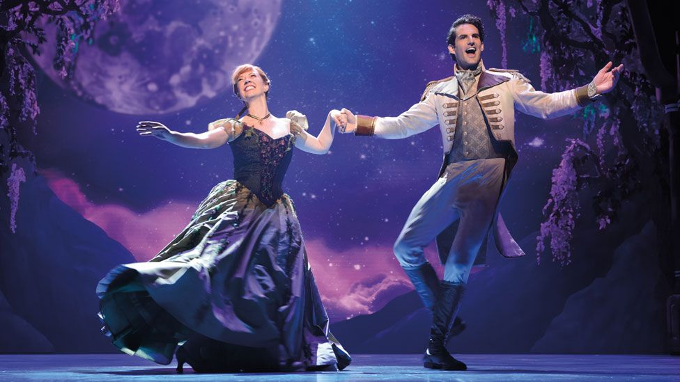 Patti Murin and John Riddle (Hans) in Frozen