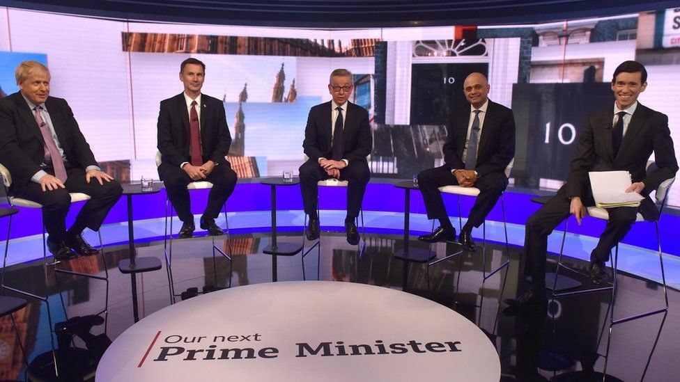 Boris Johnson, Jeremy Hunt, Michael Gove, Sajid Javid and Rory Stewart during the BBC TV debate at BBC Broadcasting House in London featuring the contestants for the leadership of the Conservative Party.